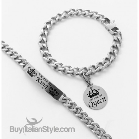 """Coppia bracciali """"You are my King-You are my Queen"""""""