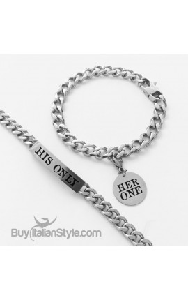 "Coppia bracciali ""Her one His only"""