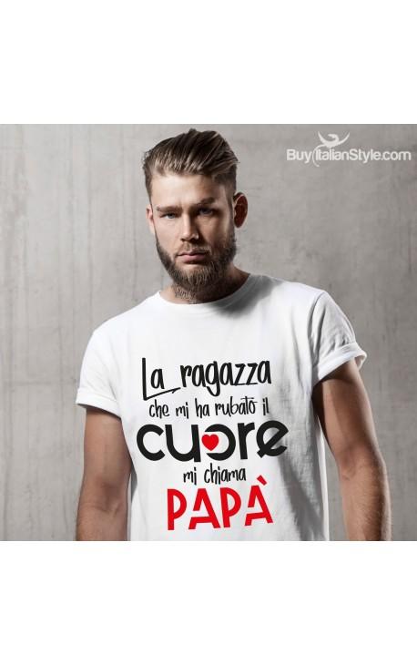 """T-shirt uomo mezza manica """"La ragazza che mi ha rubato il cuore mi chiama papà"""""""