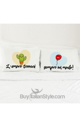 """Love Couples pillowcases """"Cactus and Balloon"""""""