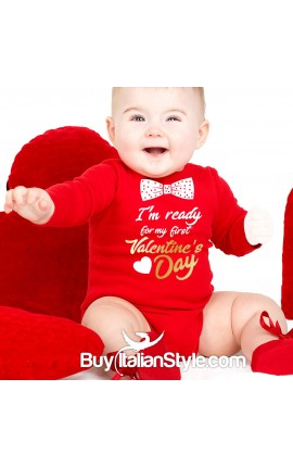 "Baby Neck Bodysuit ""My First Valentine's Day"""