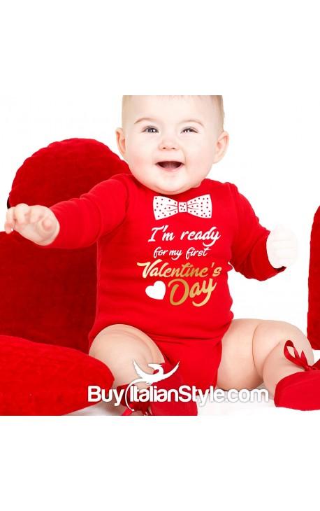 """Baby Neck Bodysuit """"My First Valentine's Day"""""""