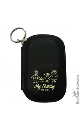 "Personalized Leather KEY HOLDER & COIN PURSE ""My Family My life"""