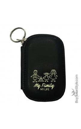 "Portachiavi e monete in pelle ""My family my life"""