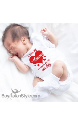 "Baby Bodysuit ""I Love my Mummy as much as my Daddy """