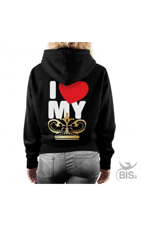 "Women's Hooded Sweatshirt "" I love my king"""