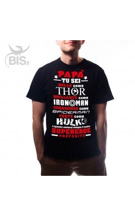 """T-shirt uomo mezza manica """"Supereroe preferito"""""""
