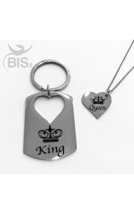 "Personalized Key Ring + Matching Pendant ""King&Queen"""
