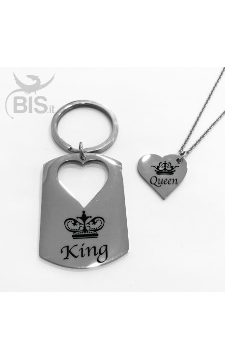 Coppia portachiavi e collana con ciondolo King e Queen