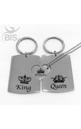 """TRIS Personalized Key Ring + Matching Pendant """"King Queen Princess"""""""