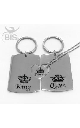 Tris portachiavi e collana con ciondolo King, Queen e Princess