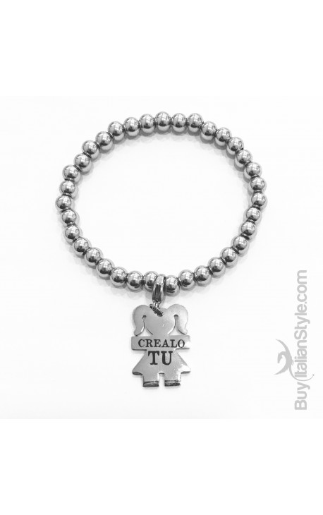 Braccialetto stile tiffany con charm bimba Personalizzato