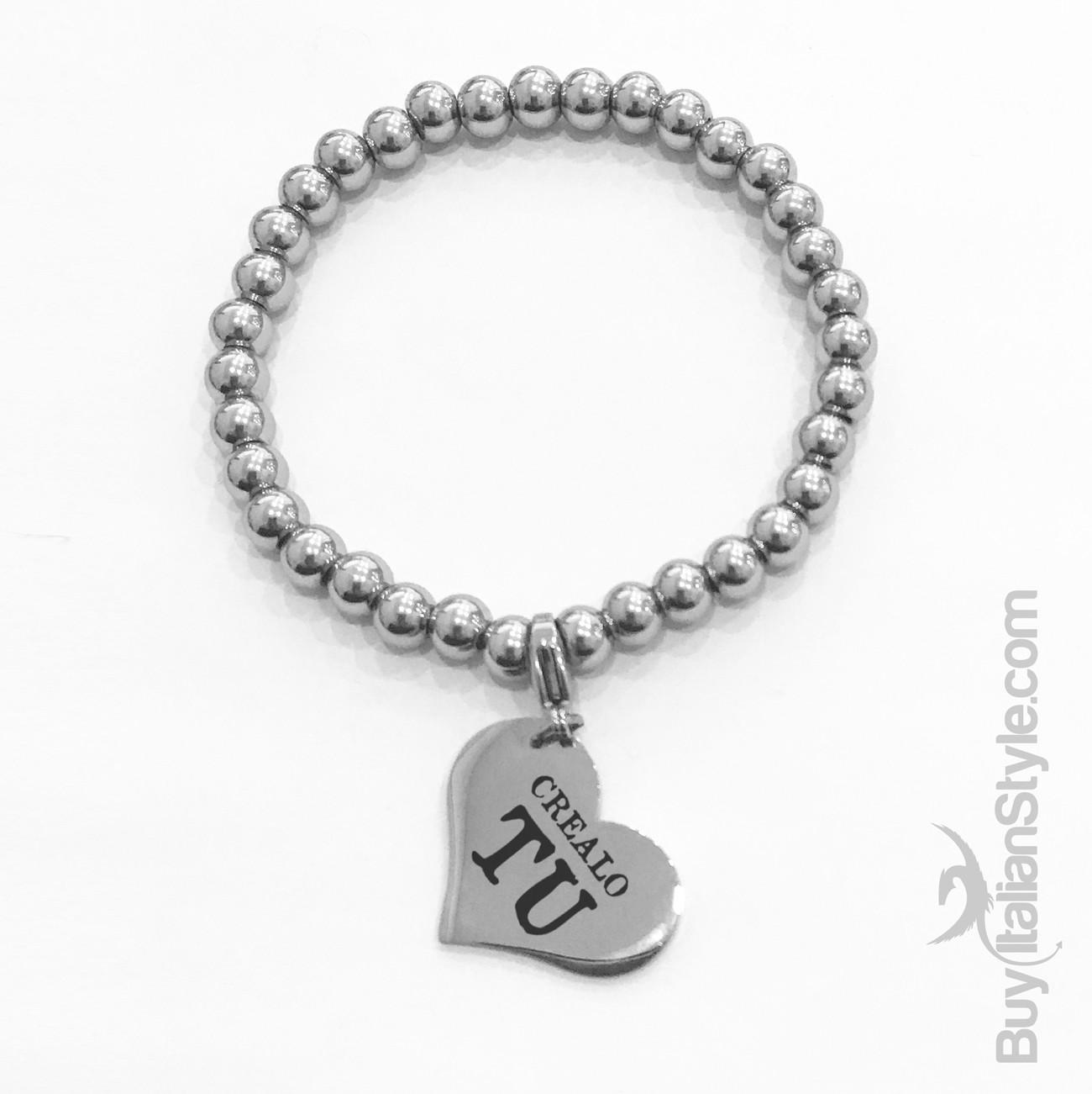 miglior servizio 22751 f9451 Braccialetto stile tiffany con charm cuore Personalizzato