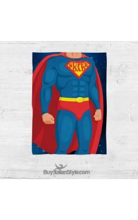 "Personalized Fleece Blanket ""Super DAD"""