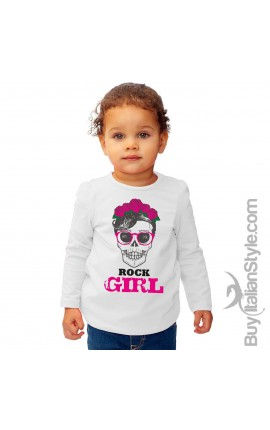 "T-shirt bimba manica lunga ""Rock girl"""