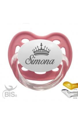 Succhietto love con nome disegno corona bimba CLASSIC