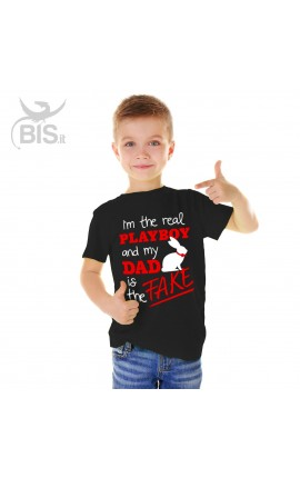 "Boy's T-Shirt ""I'm the real Playboy and my Dad is the fake"""