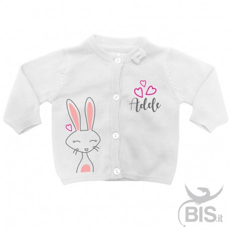 Personalized Baby Girl Cardigan with Name and Crown