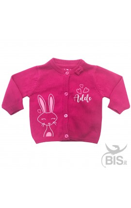 """Cardigan in filo neonata  """"coniglietto con nome"""""""