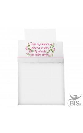"""Composè culla/carrozzina """"Come in primavera nasce un fiore tu sei nata dal nostro amore"""""""