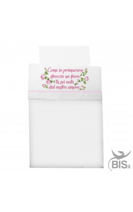 "Composè cradle/baby carriage ""as a flower is born in spring, you are born from our love""!"
