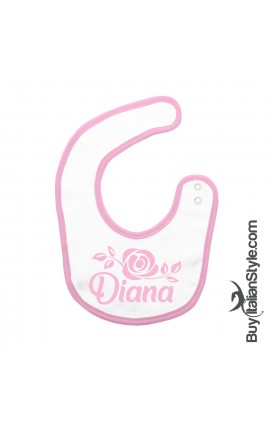 Bavaglino con nome e disegno rosa