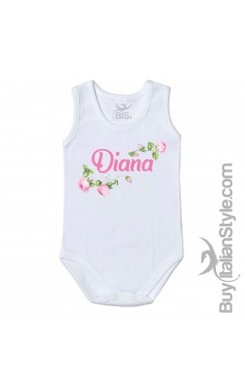 "Personalized Baby Bodysuit Layette ""Rose"""