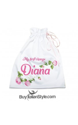 "Personalized First Change Bag Layette ""Rose"""