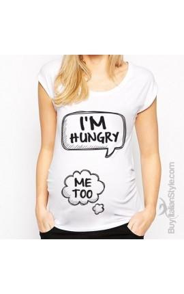 """T-shirt premaman manica corta """"Ho fame anche io"""""""