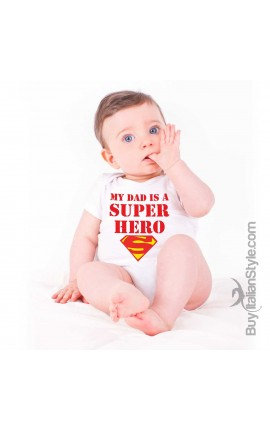"Baby Bodysuit ""My dad is a Super Hero"""