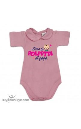 """Body neonata colletto con finitura in pizzo """"Polpetta di papà"""""""