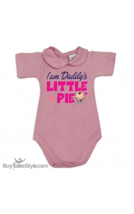 "Baby Girl's Bodysuit with lace-bordered Collar ""I am Daddy's little Pie!"""