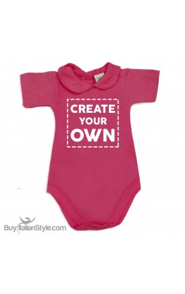 "Personalized Baby Girl's Bodysuit with lace-bordered Collar ""Create Your Own"""
