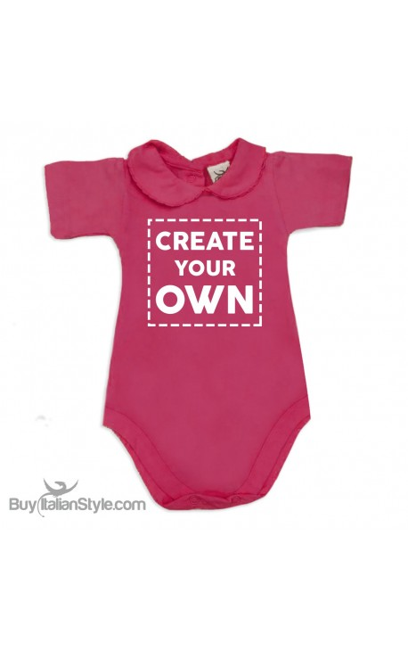 """Personalized Baby Girl's Bodysuit with lace-bordered Collar """"Create Your Own"""""""