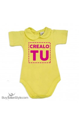 Body neonata colletto con finitura in pizzo  personalizzabile