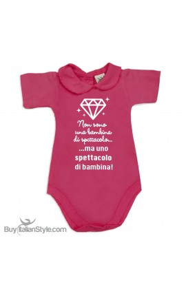 """Body neonata colletto con finitura in pizzo """"bimba spettacolo"""""""