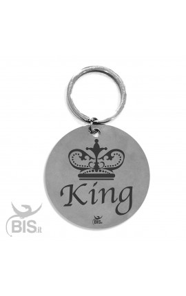 "Personalized Round Keyring ""King"""