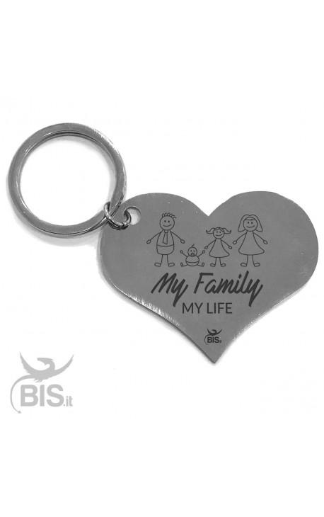 """Portachiavi acciaio """"My Family"""""""