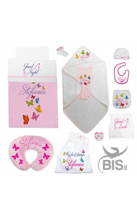 "Personalized Summer Layette ""Butterfly"" Baby Girl Gift"
