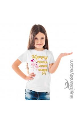 """T-shirt bimba manica corta """"Mamma è una parola piccola ma con un grande significato grande come te"""""""