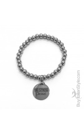 "Braccialetto stile tiffany con charm ""NO STRESS please"""