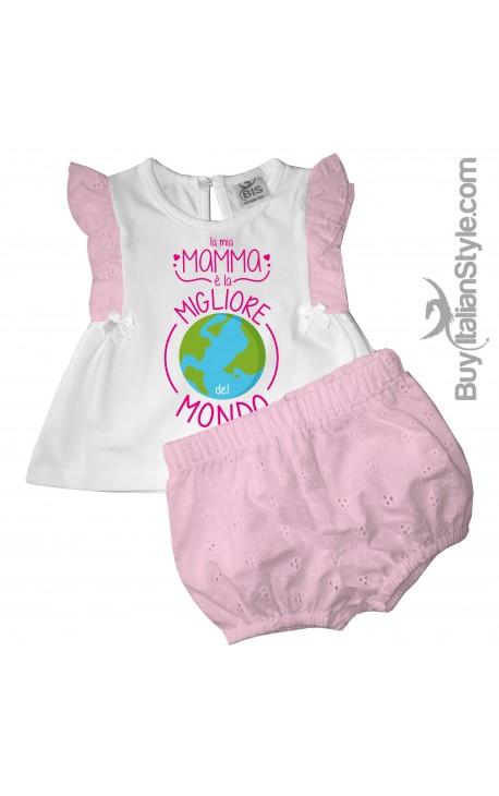 """Completino neonata """"La mia mamma è la migliore del mondo"""""""