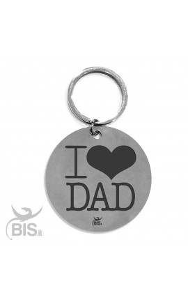 "Personalized Round Keyring ""I LOVE DAD"""