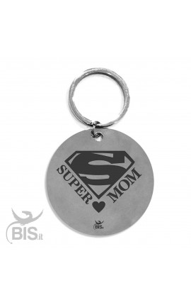"Personalized Round Keyring ""SUPER MOM"""