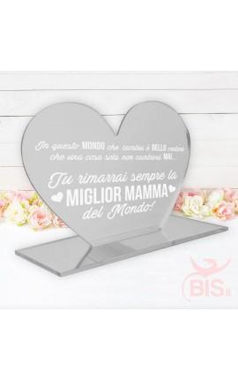 """Targhetta a cuore in plexiglass """"Miglior mamma del mondo"""""""