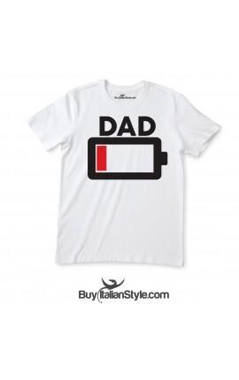 "T-shirt uomo mezza manica ""BATTERIA SCARICA"" Papà"