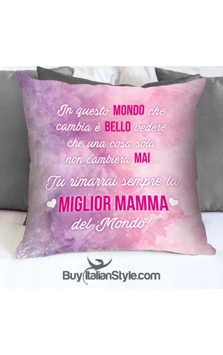 """Federa cuscino """" la miglior mamma del mondo"""""""